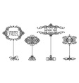 set of calligraphic trees vector image