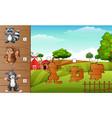 set of matching farm animal game vector image