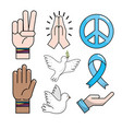 set peace hand symbol to global harmony vector image vector image