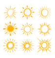 shining bright hand drawn happy sun set vector image vector image
