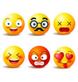 smiley face icons or yellow emoticons with vector image
