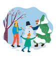 smiling people building snowman in park vector image