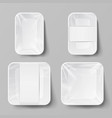 template blank white plastic food container set vector image vector image