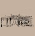 venice embankment italy digital sketch hand vector image