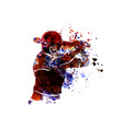 watercolor silhouette baseball player vector image vector image