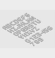 white isometric font alphabet in thin line style vector image vector image