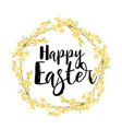 yellow flowers card happy easter vector image vector image