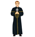 Young christian priest in cassock holding a cross vector image