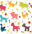 seamless pattern with farm animals vegetables vector image