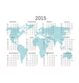 2015 calendar with world map vector image vector image