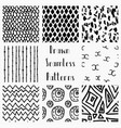 abstract hand drawn black seamless patterns vector image vector image