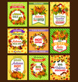 autumn sale retro poster set with fall season leaf vector image vector image