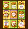 autumn sale retro poster set with fall season leaf vector image