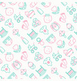 baby care seamless pattern with thin line icons vector image vector image