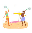 badminton game on beach man and woman in swimsuits vector image vector image