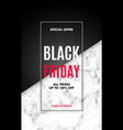 black friday sale poster with marble texture and vector image