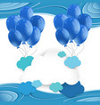 blue balloons floating in blue sky vector image