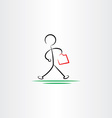 business man hurry walking icon black design vector image vector image