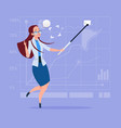business woman taking selfie photo with stick on vector image vector image