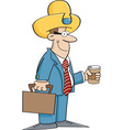 Cartoon businessman wearing a cowboy hat vector image vector image