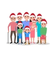 cartoon happy family in cap of Santa Claus vector image vector image
