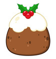 christmas pudding cake topped vector image vector image