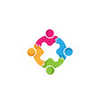 colorful abstract four people logo vector image vector image