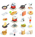 cooking isometric icons collection vector image vector image