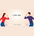 couple in mask standing separated from each other vector image