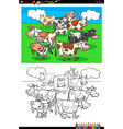 cows farm animal characters group color book vector image vector image