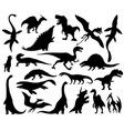 dinosaurs and dino monsters icons predators vector image