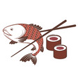 fish and sushi with chopsticks vector image vector image