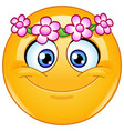 flower head wreath emoticon vector image vector image