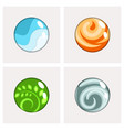 four elements round badges vector image vector image