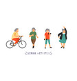 group of elderly people go in for sports senior vector image