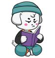 Grumpy Dog Reading a Book vector image vector image