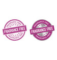 grunge stamp and silver label fragrance free vector image vector image