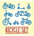 Hand drawn bicycle set vector image