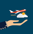 Hands holding plane vector image