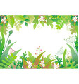 horizontal floral frame with green plants vector image