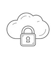 internet cloud data protection line icon vector image vector image