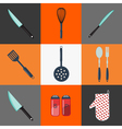 Kitchen Utensils Household Objects Icons Set vector image