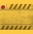 metal blank yellow warning plate with stripes vector image vector image