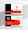 modern red color theme business card template vector image vector image