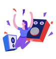 music playing and listening speakers and woman vector image vector image