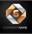 number six logo symbol in the colorful rhombus on vector image vector image