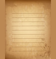 old grungy vintage lined blank with lovely floral vector image