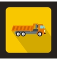 Orange dump truck icon flat style vector image vector image