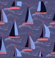 sailboats on waves nautical repeat pattern vector image