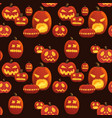 seamless halloween pattern with scary pumpkins on vector image vector image